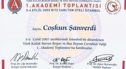 Türk KBB ve Baş Boyun Cerrahisi Vakfı 1. Akademi Toplantısı Katılımı